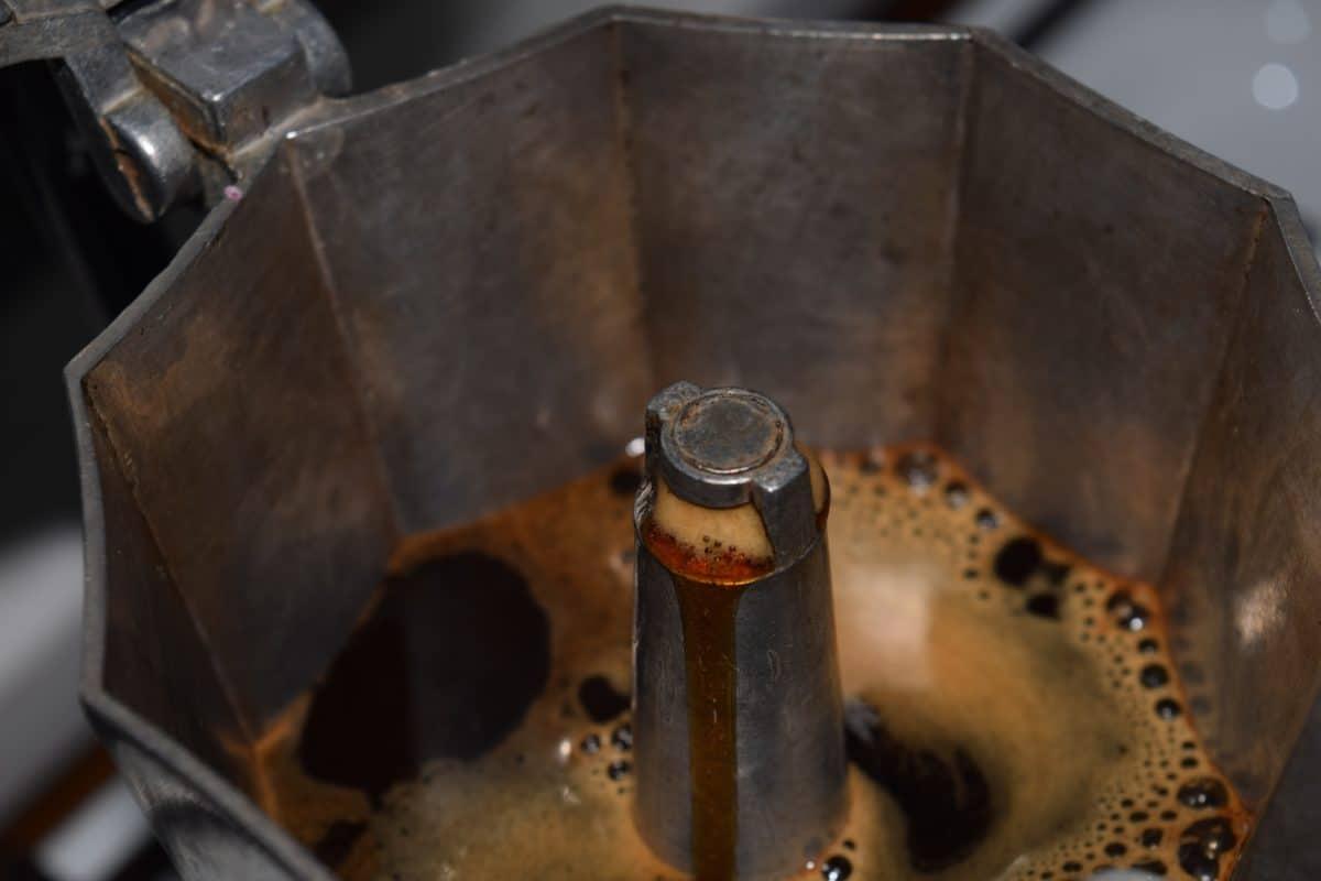 стари, стомана, метални изделия, напитки, Закрит, кафе, макро