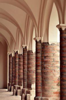 ladrillo, pilar, construcción, antigüedad, arte, arco, interior