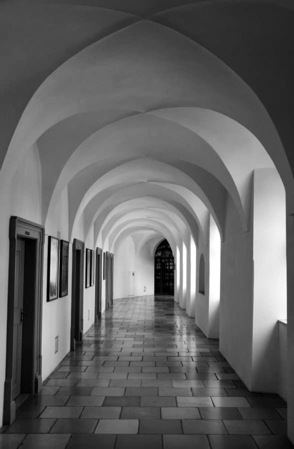 Architektur, Bogen-, Dach, alte, Stock, indoor, Monochrom