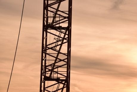 sky, industry, steel, metal, object, crane, cable, tower, high