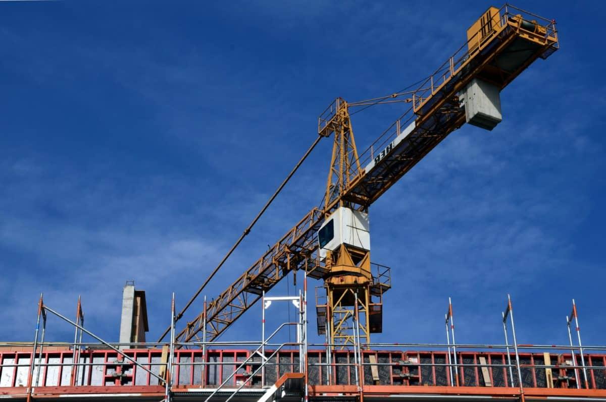 ocel, průmysl, jeřáb, obloha, stavební, průmyslové, stroj