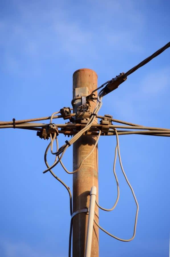 하늘, 와이어, 장비, 전기, 케이블, 전기, 전압