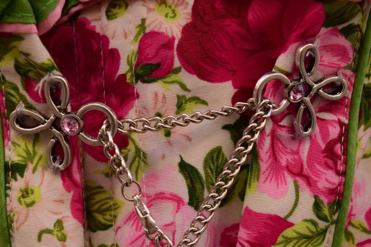 catena, metallo, decorazione, colorato, tessuto, fiore