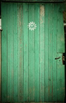wood, front door, texture, hardwood, retro, old, surface, green