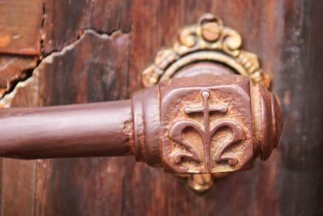 entrada antiguo, bronce, antiguo, latón, hierro, antiguo, de la puerta