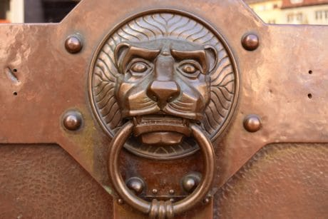 steel, head, lion, ring, retro, iron, metallic, old, antique, wooden