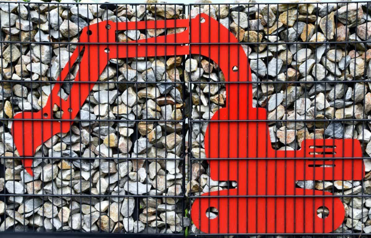 wall, stone, fence, metal, grid, excavator, art