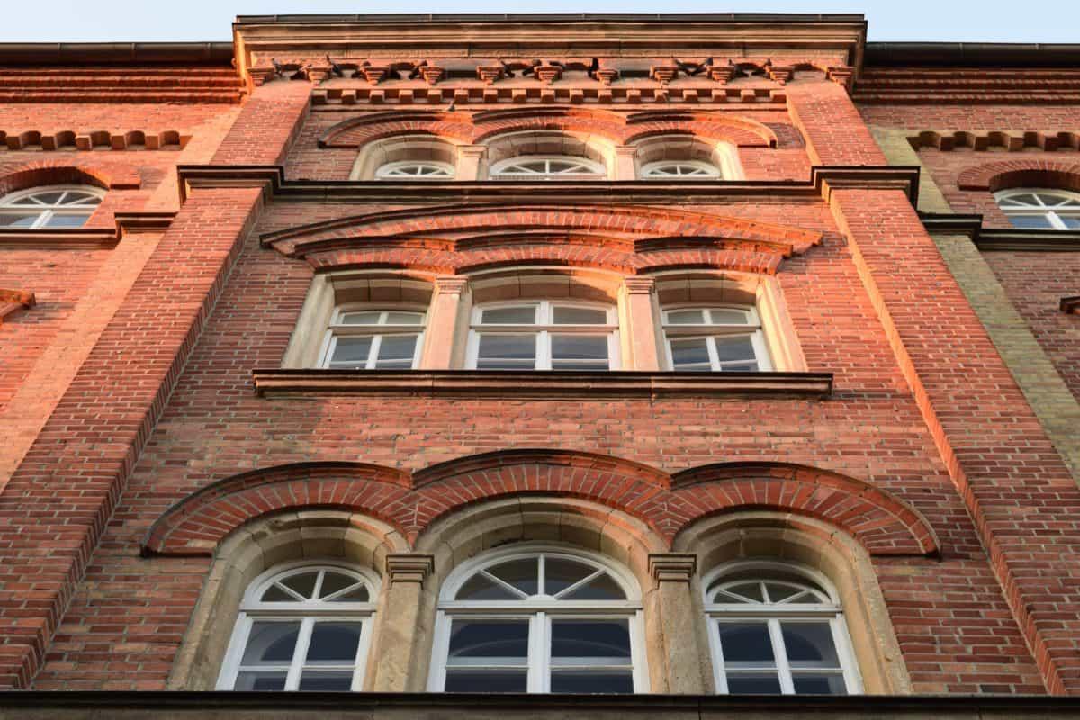 tijolo, antiga, arquitetura, cidade, janela, casa, fachada, ao ar livre