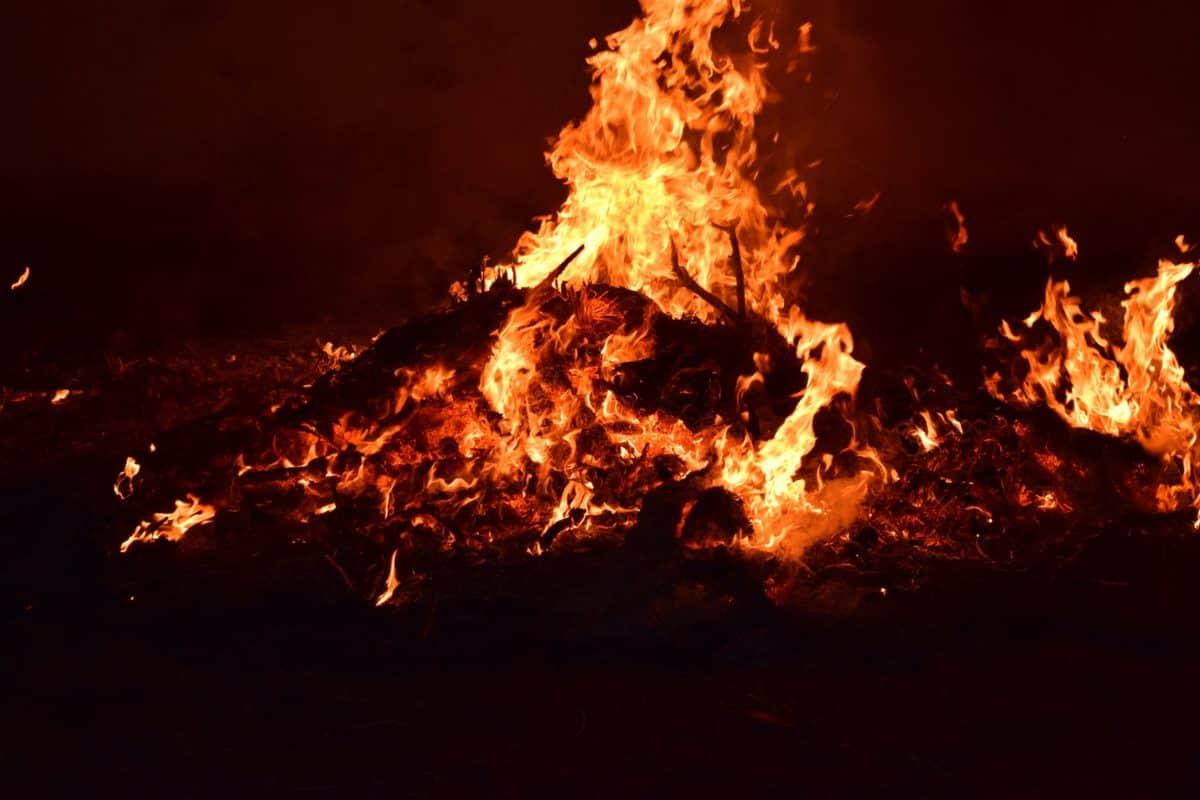 fumée, feu, chaleur, flamme, une traînée de poudre, nuit, sombre