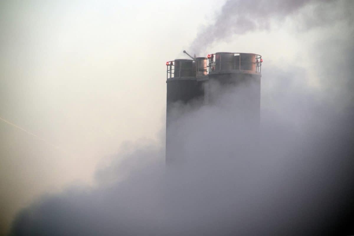 fumo, nebbia, sul posto di lavoro, fabbrica, industria, canna fumaria, inquinamento, all'aperto