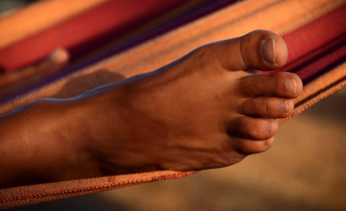 homme, pied, doigt, personne, peau, toile, chaise longue