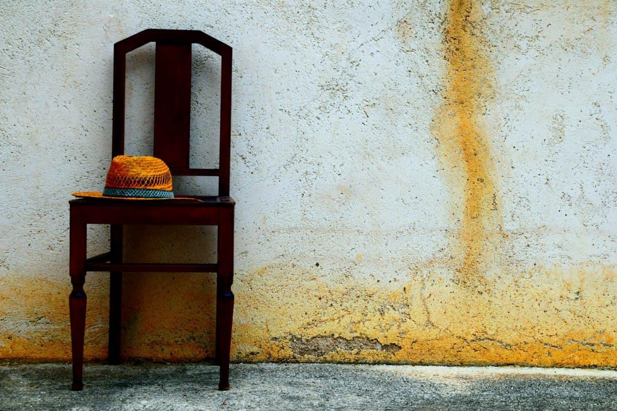 meubels, outdoor, daglicht, oude, retro, muur, stoel, hoed