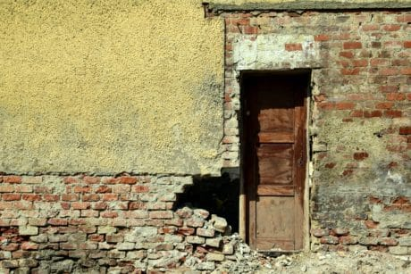 house, window, wall, urban, abandoned, old, architecture, front door, brick
