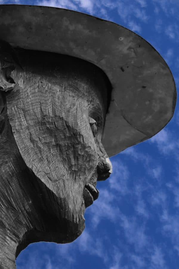 scultura, cielo blu, all'aperto, ritratto, arte, pietra, nera
