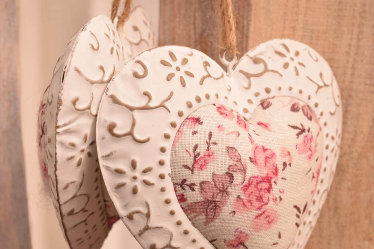 Retro, corazón, decoración, almohadas, textil