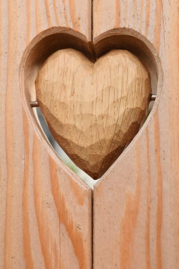 wood, heart, wooden, front door, decoration