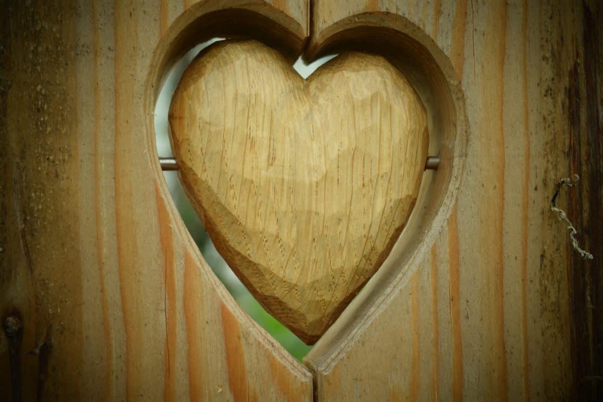 bois, coeur, porte, décoration