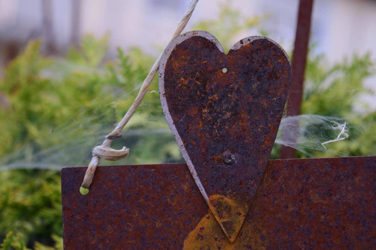 metal, óxido, acero, arte, corazón, cuerda