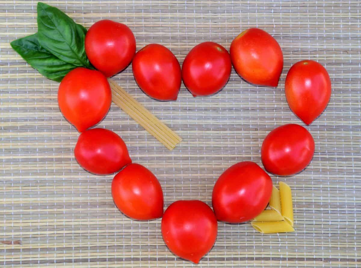 pomodoro, cuore, romanticismo, erba, pianta, verdura, cibo, coperto