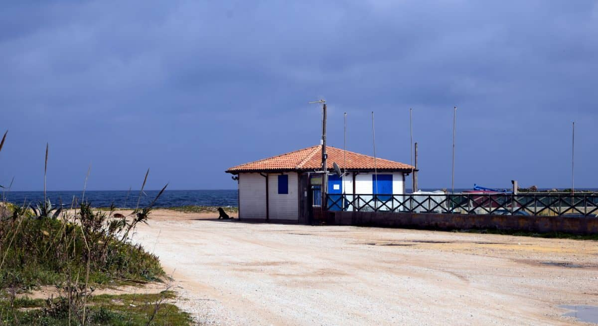 spiaggia, mare, acqua, mare, capannone, struttura, cielo