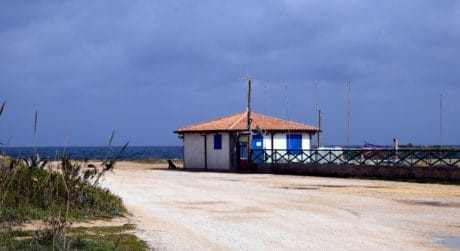 beach, seashore, water, sea, shed, structure, sky