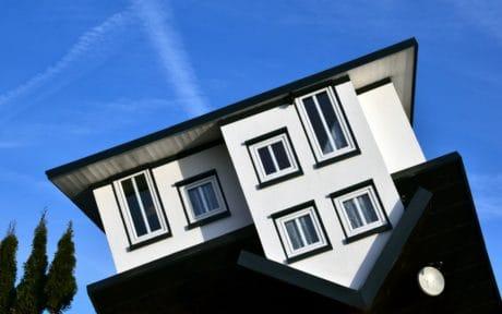 modrá obloha, úhel, fasády, architektura, dům, okna, venkovní