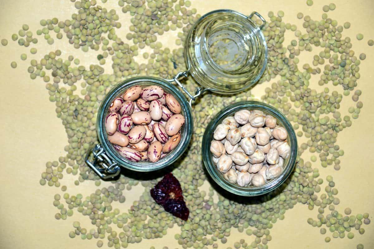 semences, pot, verre, noyau, bol, objet