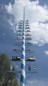colorido, figura, azul cielo, nube, árbol, cielo