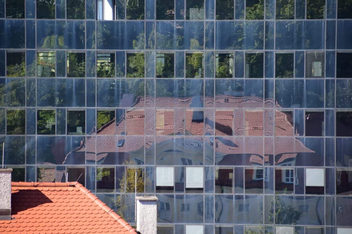 casa, finestra, riflessione, architettura, moderno, muro, città, facciata