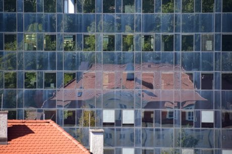 house, window, reflection, architecture, modern, wall, city, facade