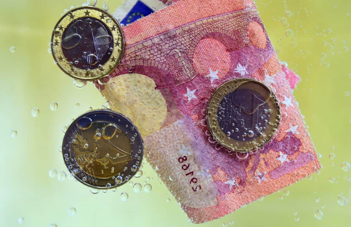 money, currency, underwater, metal coin, paper