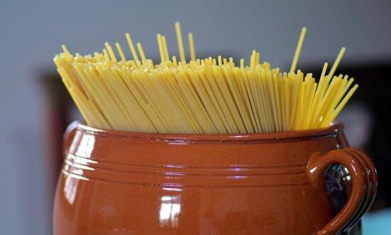 spaghetti, alimentaires, pâtes, coupe, céramique, objet, détail