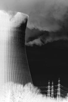 sky, monochrome, architecture, power plant, smoke, pollution