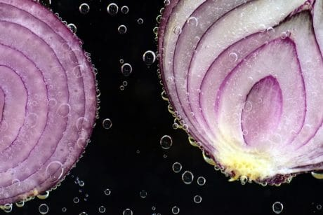 food, slice, vegetable, onion, vegetable, bubble, art, water, liquid