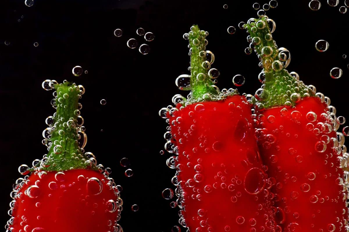 peppers, underwater, macro, red, vegetable, water, wet, bubble