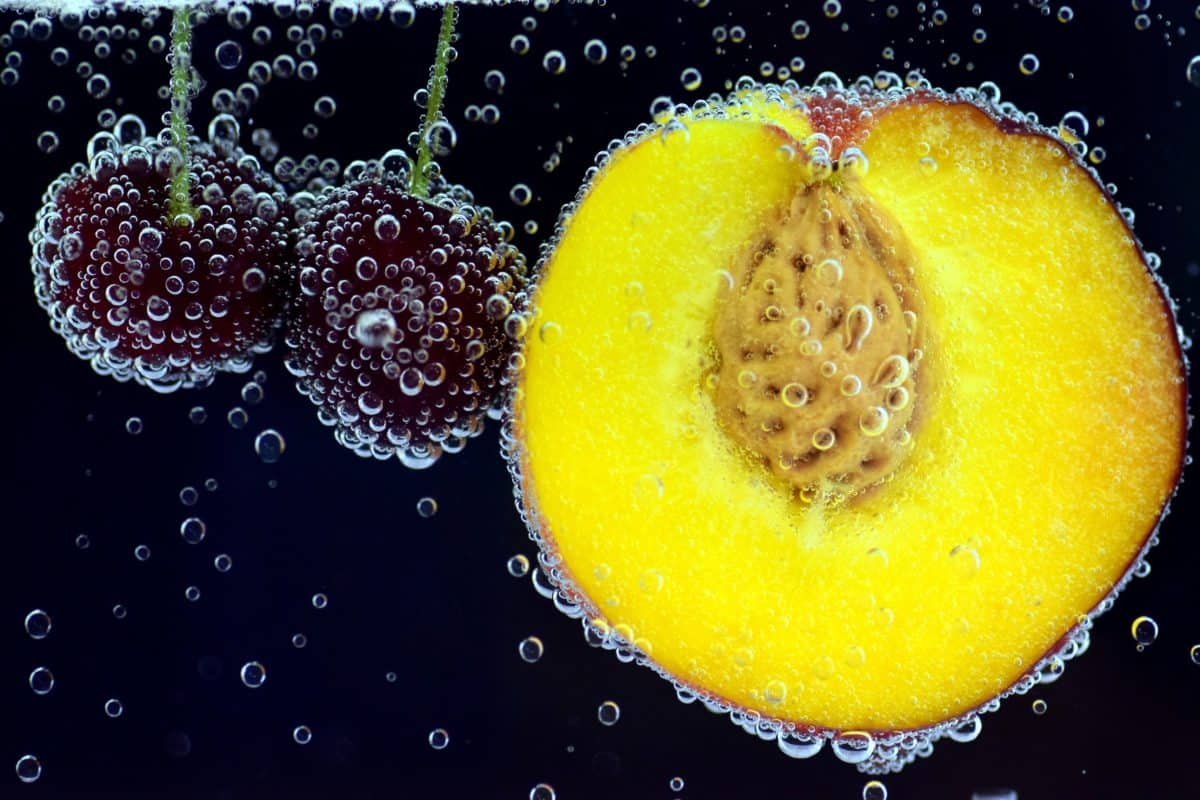 peach, water, cherry, fruit, food, water, underwater, decoration