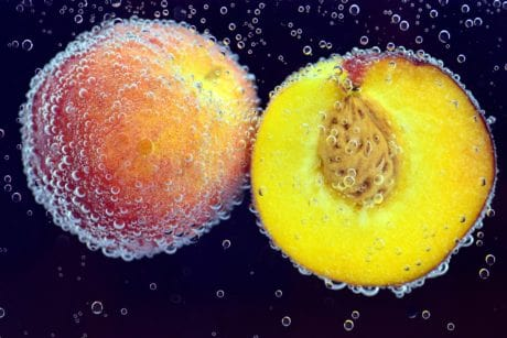 peach, water, fruit, food, water, bubble, decoration