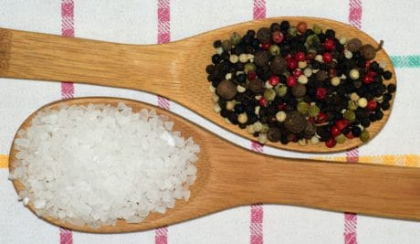 salt, spoon, wood, spice, pepper, kitchen