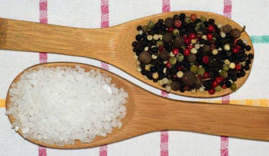 cuillère, bois, épices, poivre, sel, cuisine