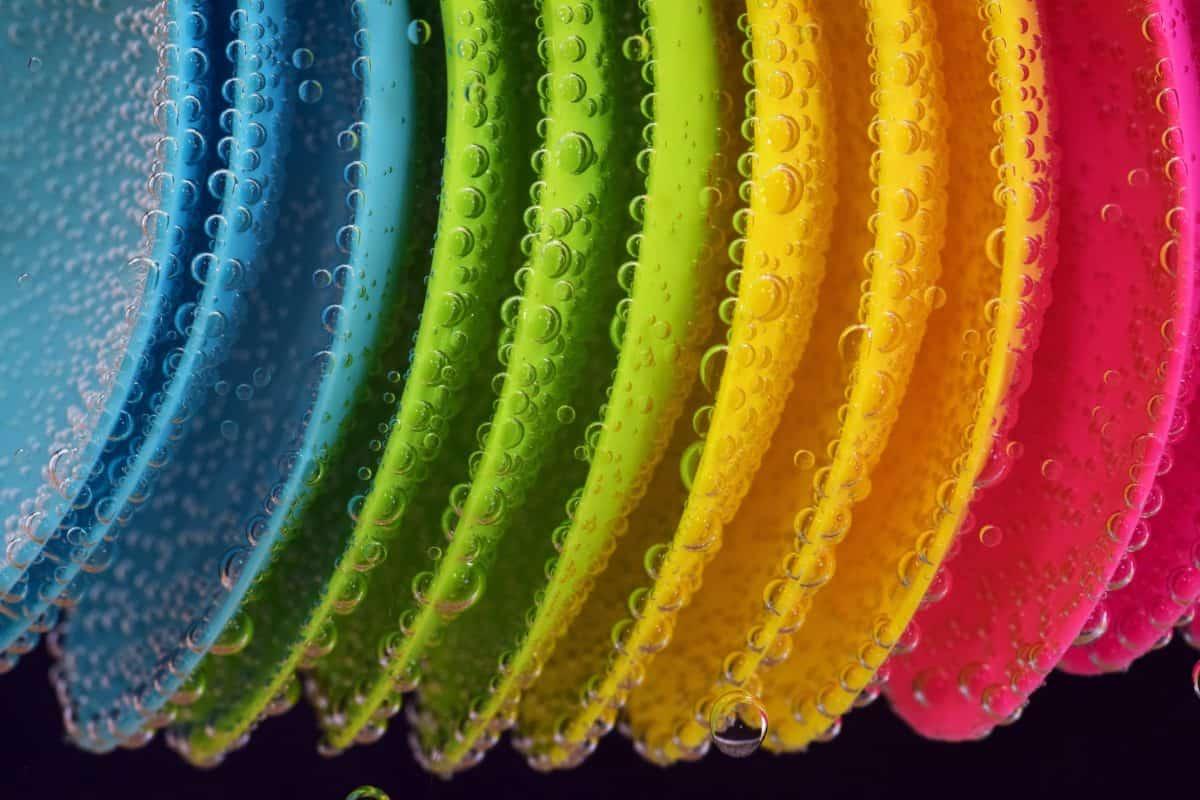piastra, colorato, vernice, bolla, acqua, decorazione