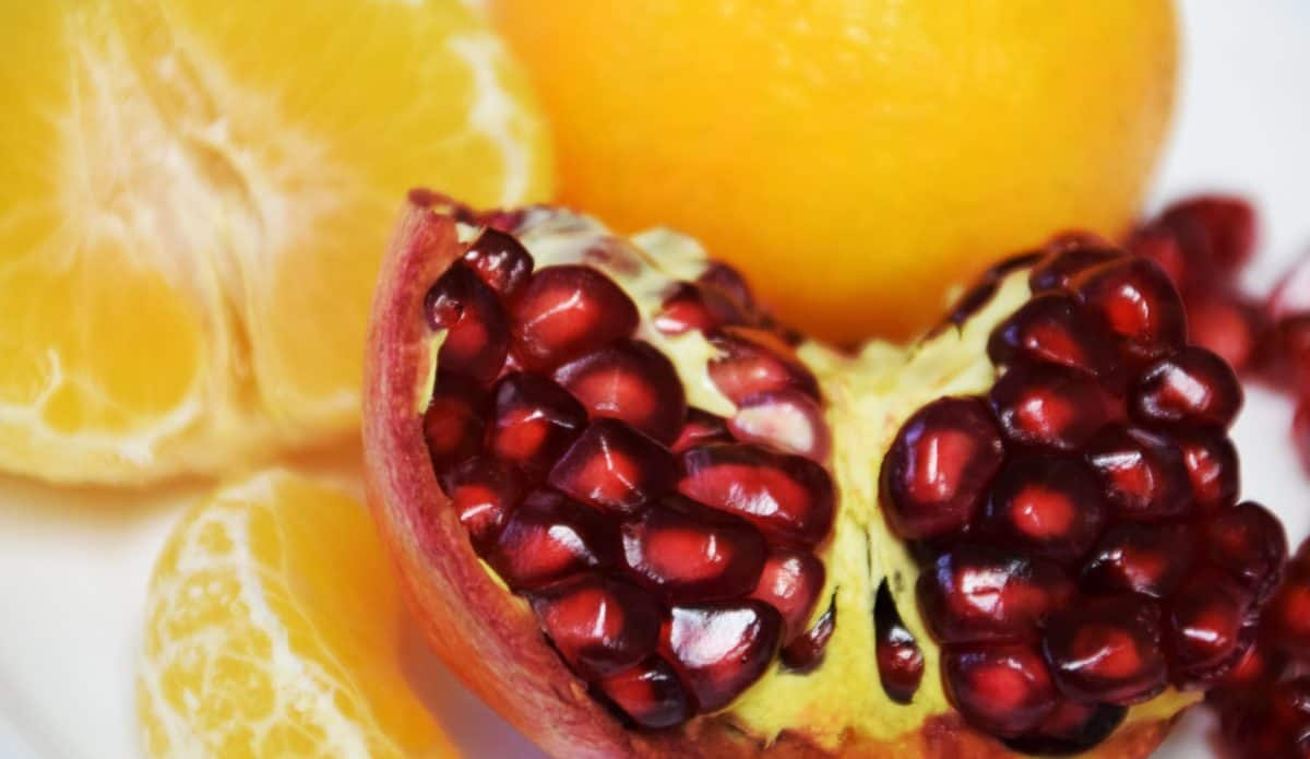 pomegranate, food, exotic, fruit, orange, sweet, fruit juice