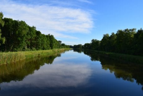 landscape, river, water, tree, riverbank, daylight, reflection, nature, blue sky