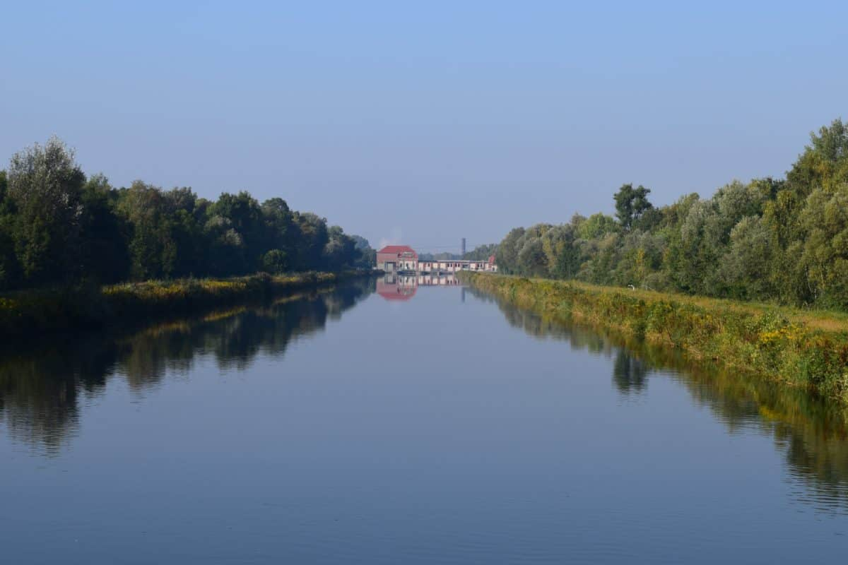 river, blue sky, landscape, water, riverbank, sky, nature, tree, reflection