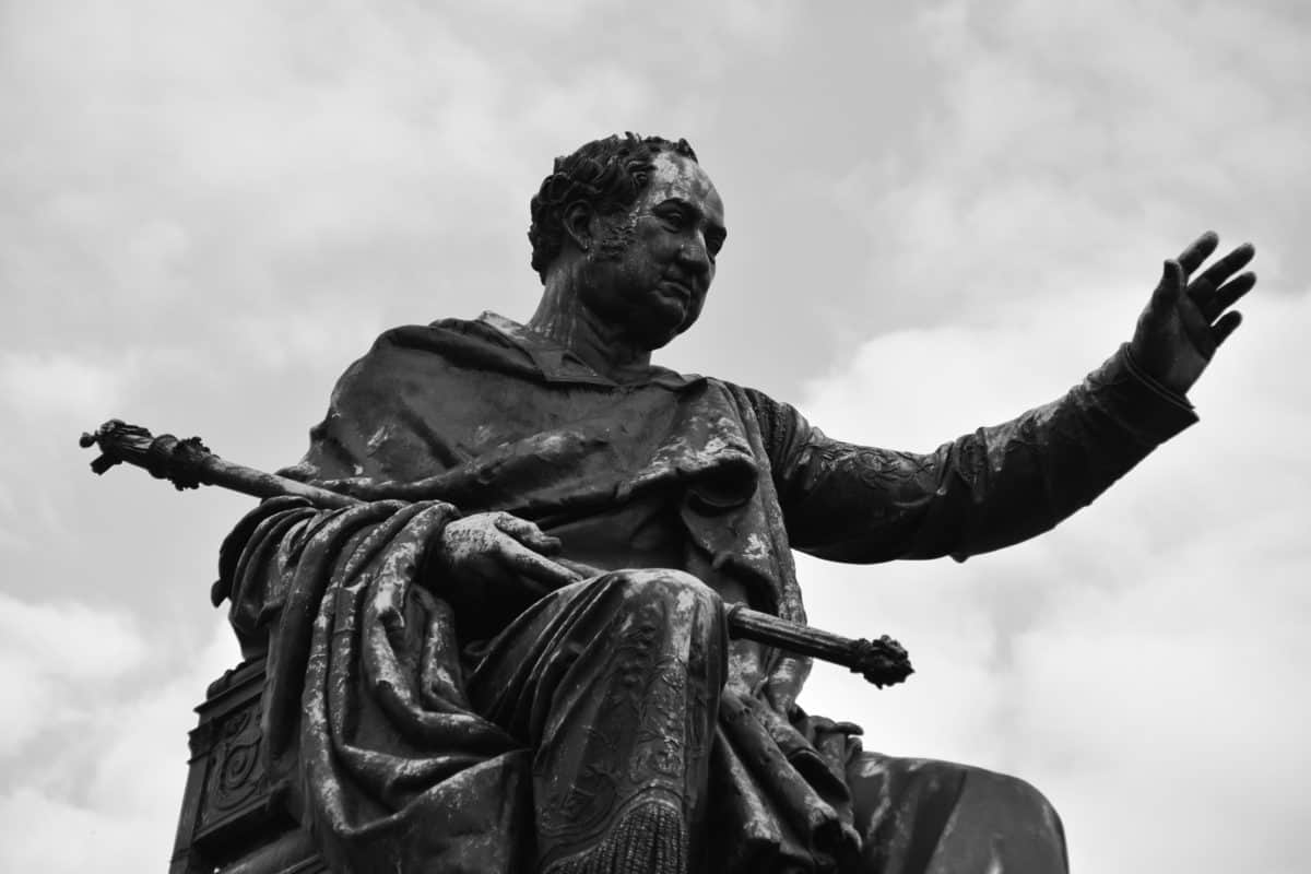 bronze, monochrome, statue, sculpture, outdoor, sky, metal, art