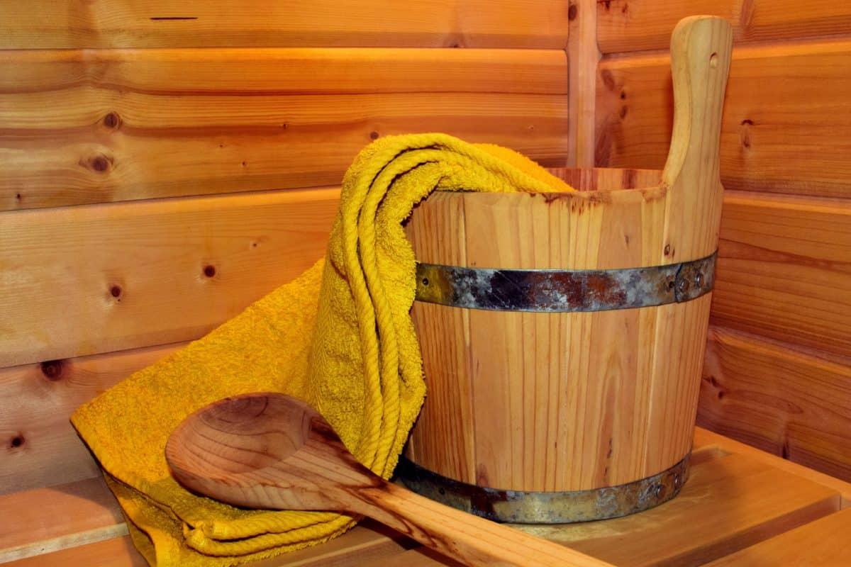 sauna, wood, bucket, towel, bucket, spoon, interior decoration
