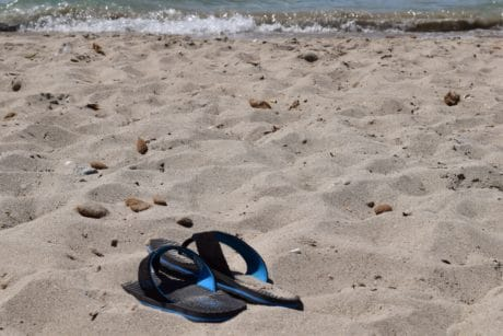 sand, sea, ocean, beach, summer, water, shore, seashore, sandal