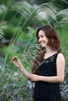 été, sourire, modèle photo, herbe, femme, fille, belle, nature, portrait, personne