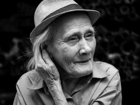 portrait, people, hat, elderly, monochrome, person, face