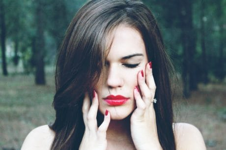 fashion, girl, woman, nature, portrait, makeup, lipstick