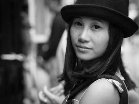 portrait, woman, monochrome, people, hat, person, fashion